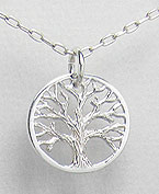 Small Tree of Life Sterling Silver Pendant 18mm x 14mm