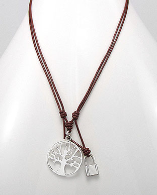 Tree Of Life Necklace, Sterling Silver, Brown Leather Cord