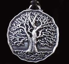 tree of life necklace with foliage in fall tones on the pendant