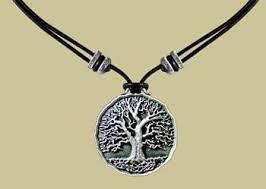 Tree of Life Necklace twisted wire with green foliage