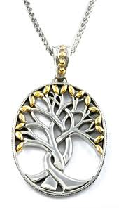 tree of life necklace with large roots on tree