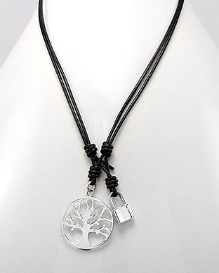 Tree of Life Necklace, Black Leather Cord | Tree of Life Jewelry